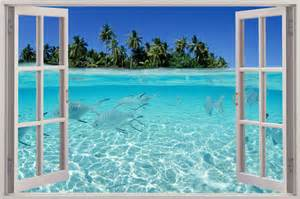 huge 3d window view exotic beach wall sticker film mural