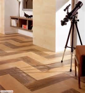 wood ceramic tile in zig zag pattern features floors