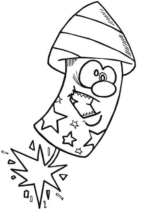 cartoon firecracker  independence day coloring page  print  coloring pages