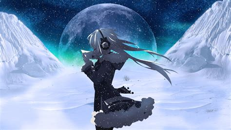 Anime Moon Wallpaper - moon headphones snow anime wallpapers hd
