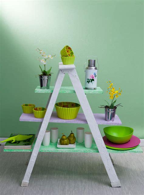 diy ladder shelf ideas easy ways  reuse   ladder