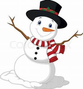Vector illustration of Christmas Snowman cartoon wearing a ...