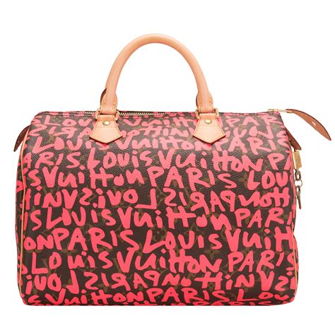 louis vuitton fuchsia pink monogram graffiti speedy  worlds