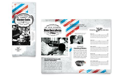 barbershop tri fold brochure template word publisher