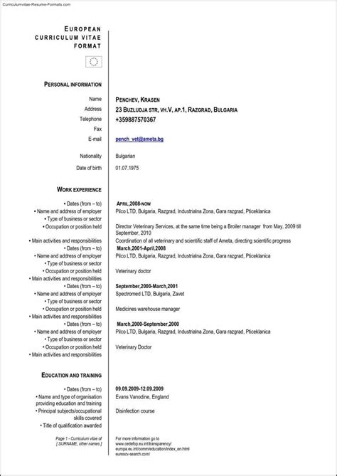 Cv Format Template by European Curriculum Vitae Format Letters Free Sle