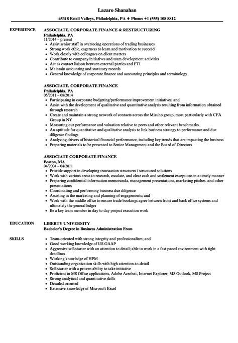 Corporate Resume by Associate Corporate Finance Resume Sles Velvet