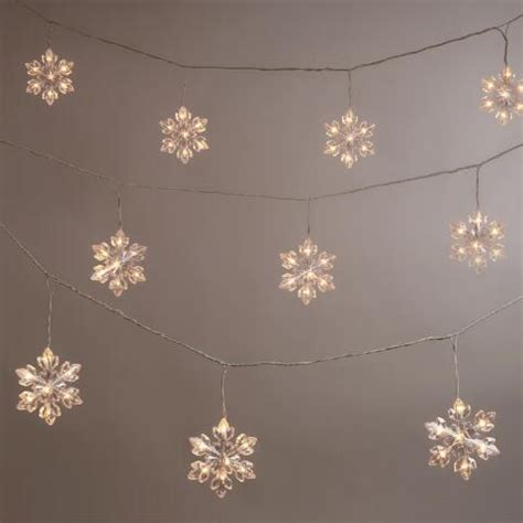 snowflake string lights outdoor snowflake led string lights world market