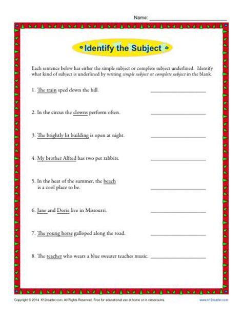 simple subject and complete subject worksheet activity