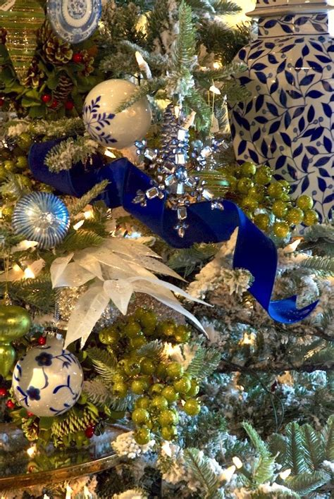 blue  white christmas tree laurel home