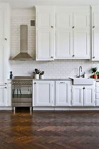 Dress your kitchen in style with some white subway tiles for White kitchen floor