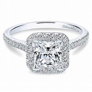 14k white gold oval 3 stones engagement ring er9048w44jj With princess style wedding rings