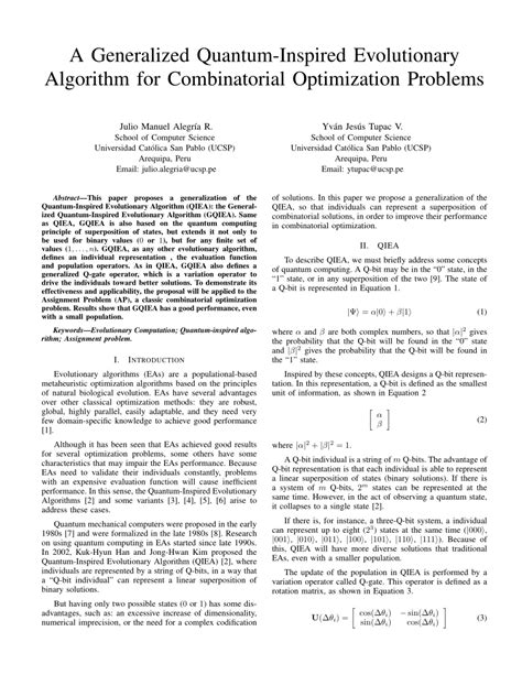 (PDF) A Generalized Quantum-Inspired Evolutionary