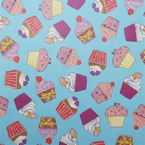 Large Cupcake Oilcloth Vinyl Fabric Kitchen Table