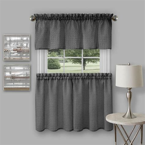Black And Valance by Achim Richmond Black Polyester Tier And Valance Curtain