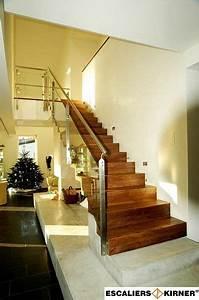 Contre Marche Deco : escaliers moderne sur mesure design marche contre marche avec garde corps rampant en verre et ~ Dallasstarsshop.com Idées de Décoration