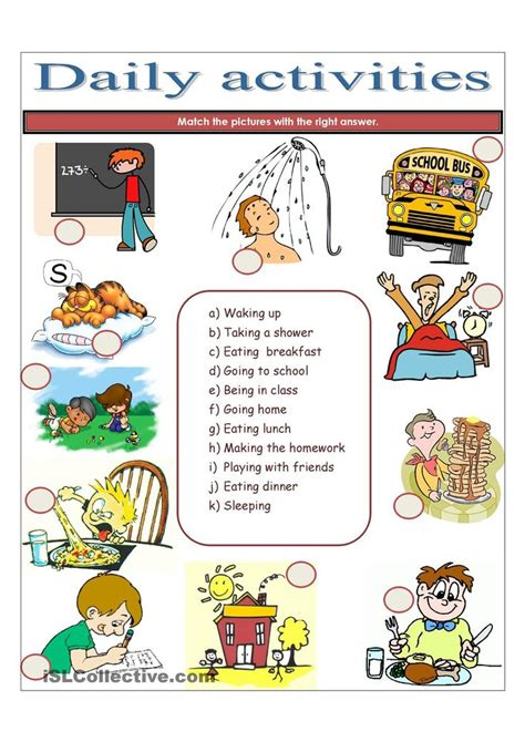 daily activities daily routine worksheet daily routine