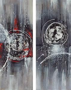 Tableau Peinture Sur Toile : tableau diptyque abstrait noir et gris peinture sur toile ~ Teatrodelosmanantiales.com Idées de Décoration