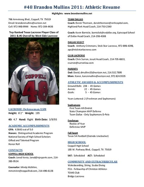 sample athletic resumes best photos of high school athletic resume college