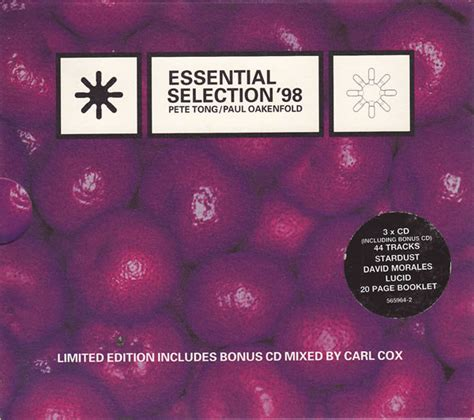 Pete Tong  Paul Oakenfold  Essential Selection '98 (cd