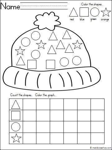 crafts actvities and worksheets for preschool toddler and 111 | winter hat theme graphing shapes activity