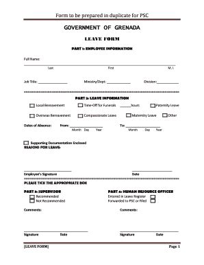 government leave form fill online printable fillable