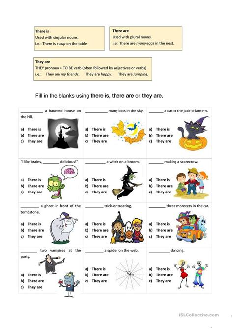 There Are Vs They Are (halloweenthemed Worksheet) Worksheet  Free Esl Printable Worksheets