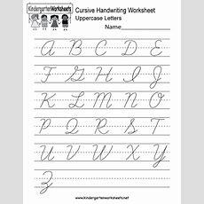 Cursive Handwriting Worksheet  Free Kindergarten English Worksheet For Kids