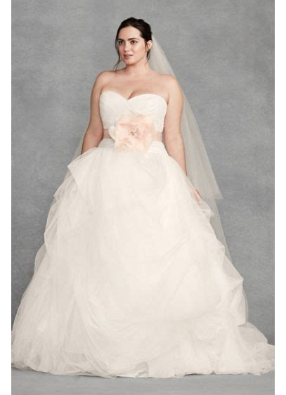 White By Vera Wang Draped Tulle Plus Wedding Dress David