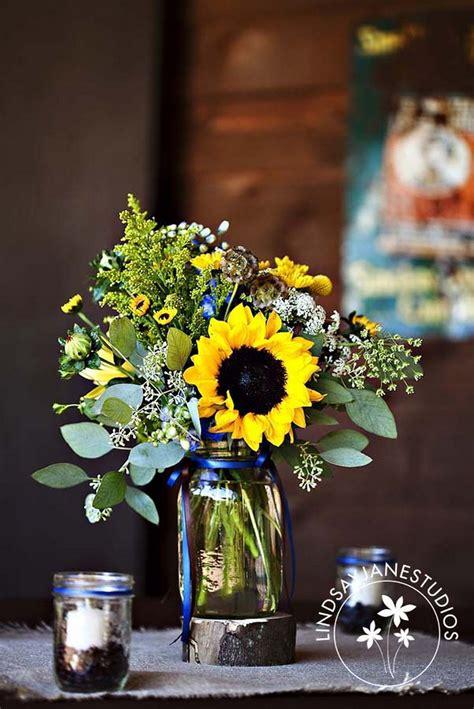 sunflower centerpieces  vis wed