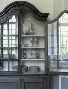 Gray Painted China Cabinet