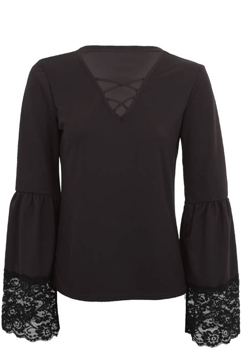 bell sleeve lace trim criss cross v neck crepe
