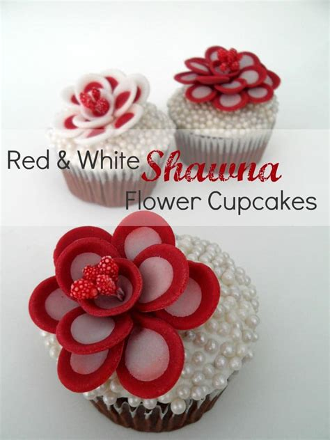 red  white shawna flower cupcake toppers