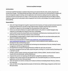 11 Web Developer Job Description Templates Free Sample