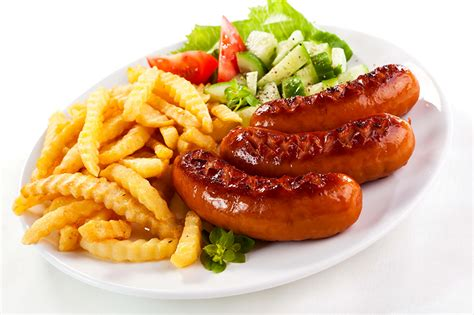 sauge cuisine picture fries vienna sausage food vegetables the second