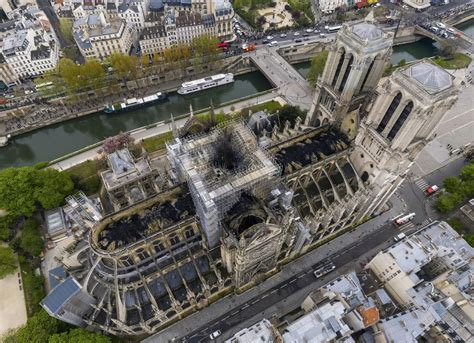 aerial   fire damaged notre dame cathedral