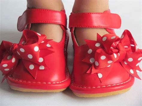 Toddler Shoes : Red With Bow, Up To Size 7