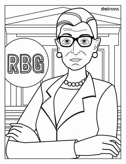 Ruth Coloring Ginsburg Bader Rbg Pages Amelia