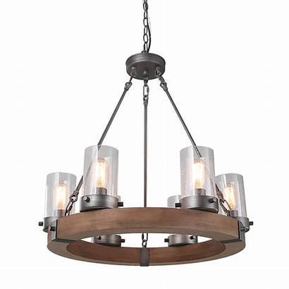 Ceiling Rustic Pendant Lighting Lights Wood Circular