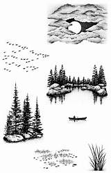 Stampscapes Sheet Tree Patterns Nature Cove Wood Burning Drawing Pyrography Palm Landscape Lakeside Sm Drawings Sunset Um Forest Wolf Coloring sketch template