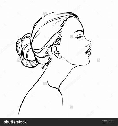 Profile Side Face Right Coloring Template Drawing