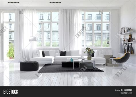 Spacious Modern Living Room Interiors by Large Spacious Modern White Living Room Interior With A