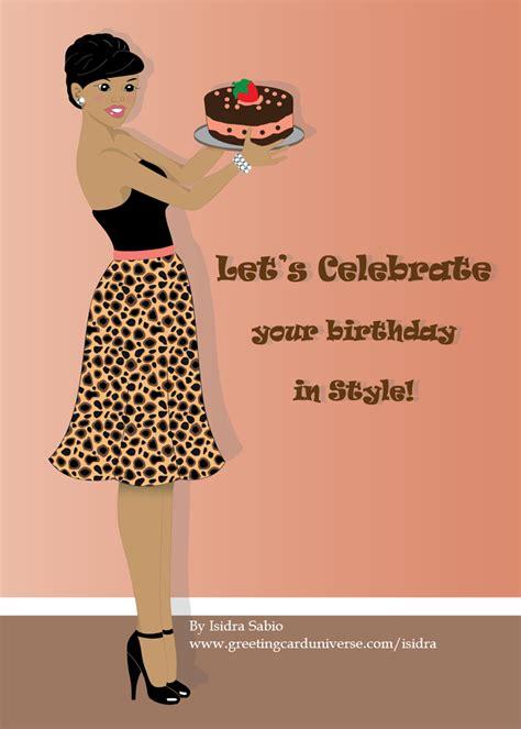 birthday woman  leopard print skirt  carrying  cake