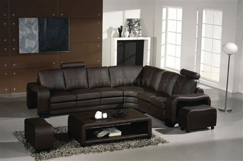 latte canapé 3330 espresso leather modern sectional sofa w coffee table