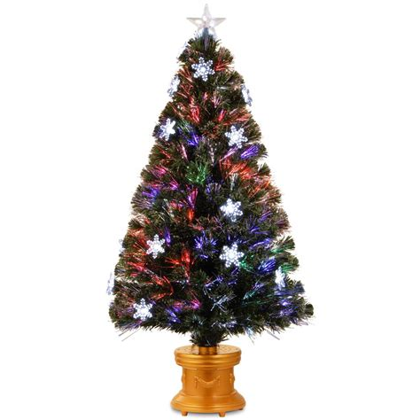 home depot fiber optic christmas tree national tree company 4 ft fiber optic fireworks artificial tree with snowflakes