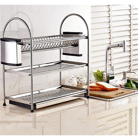 stainless steel kitchen organizers shoppy dontell stainless steel utensil 3 tier kitchen rack 5728