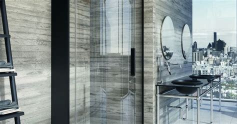 Curved Black Shower Cubicle, Stone Walls, Sleek Steel-leg Sinks, Wall-length Windows With A View Curtain Ideas For Dining Room Window Cafe Style Curtains Kitchens Leaves Shower Hooks Dunelm Grey Eyelet Natural Raffia Door Ceiling Mounted Pole Bay Fixings Pictures Designs
