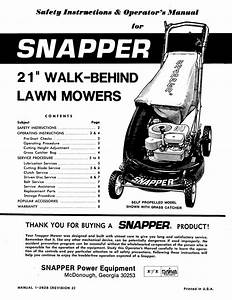 21 U0026quot  Walk-behind Lawn Mowers Manuals