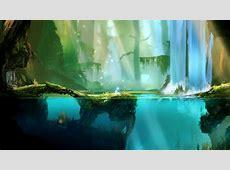 anime, Digital Art, Video Games, Water, Trees, Underwater