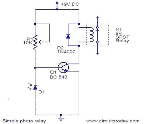 relay circuit working and circuit diagram with parts list