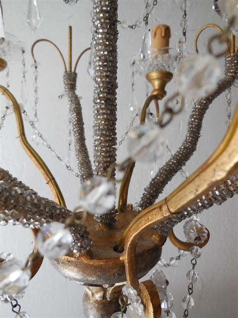 Beaded Chandeliers For Sale by Italian Micro Beaded Gold Gilt Prisms Chandelier